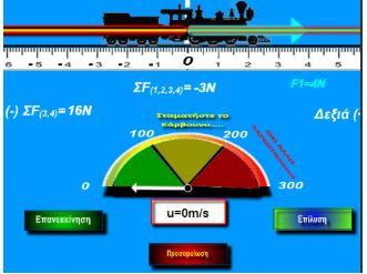 Προσομοίωση HTML5 «Τρένο με σταθερή ταχύτητα » 1ος νόμος του Νεύτωνα